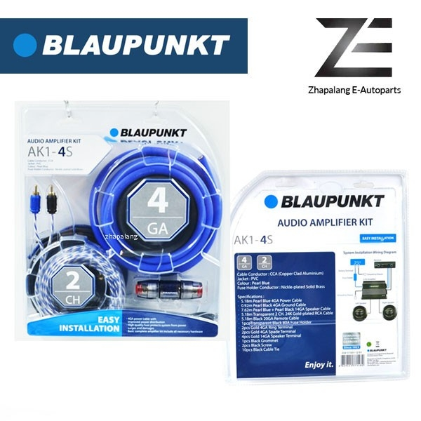 Blaupunkt 4 Gauge AK1-4S 2 Channel Car Audio Amplifier Kit with Fuse Holder