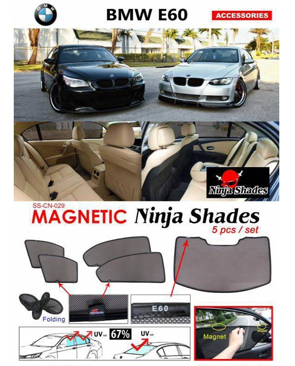 BMW E60 5-Series 03-10 NINJA SHADES Magnetic Sun Shade 5 Pcs