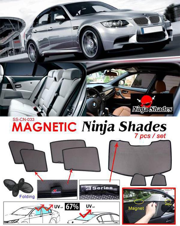BMW E90 3-Series 04-13 NINJA SHADES Magnetic Sun Shade 7 Pcs