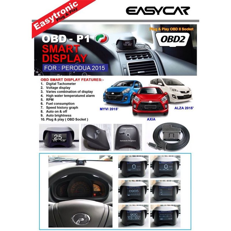EasyCar 10 in 1 Plug & Play OBD Smart Display for Perodua Myvi 2015/Axia 2015/Alza 2015