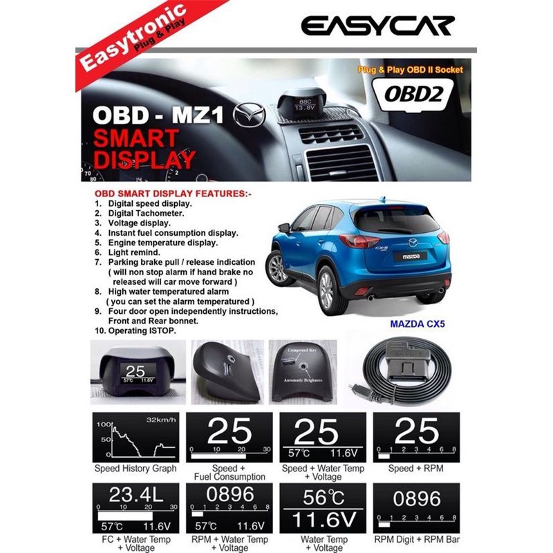 EasyCar Plug & Play OBD Smart Display MZ1 for Mazda 3/CX5/Mazda 6