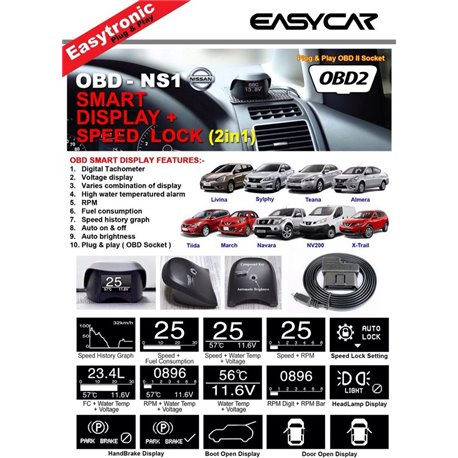 EasyCar OBD Smart Display NS1 + Speed Lock (2in1) for Nissan Livina/Almera/Latio/Navara/X-trail/NV200