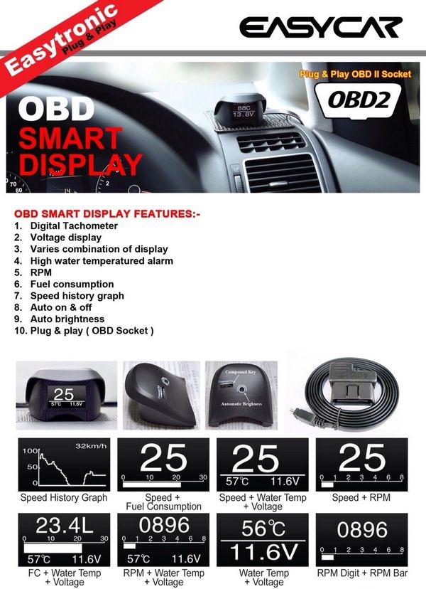 EasyCar 10 in 1 Plug & Play OBD Smart Display for For Isuzu Dmax