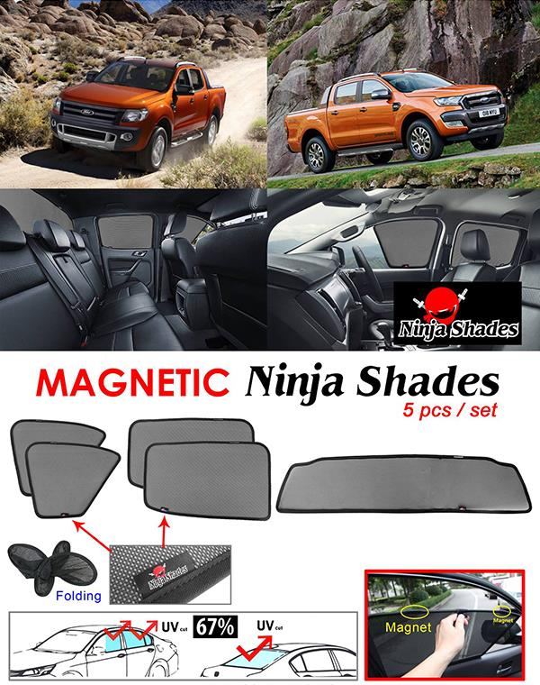 Ford Ranger T6 T7 2011-17 NINJA SHADES Magnetic Sun Shades 5 Pcs