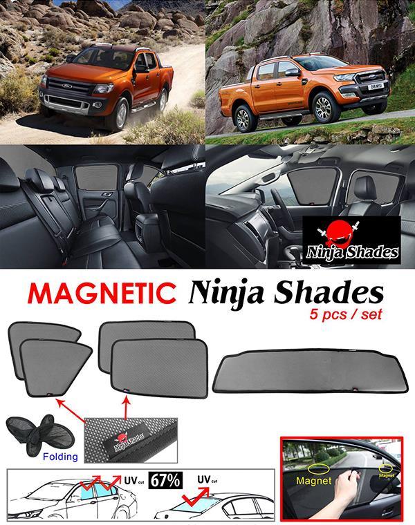 Ford Ranger T6 T7 2011-17 NINJA SHADES Magnetic Sun Shades 5 Pcs