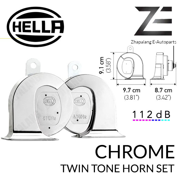 Hella Chrome Twin Fanfare Trumpet Horn Kit 510 Hz / 410 Hz 112dB 3FH 007 728-883