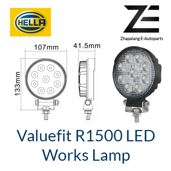[1 Pcs]HELLA Valuefit Work Lights R1500 LED 6000K | 1500 Lumen | IP6K9K Dustproof Waterproof | Connection Cable 800 mm