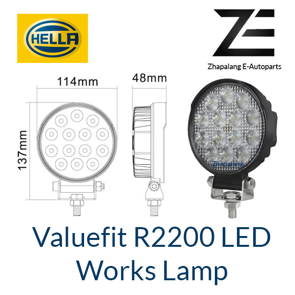[1 Pcs]HELLA Valuefit Work Lights R2200 LED 6000K | 2200 Lumen | IP6K9K Dustproof Waterproof | Connection Cable 800 mm