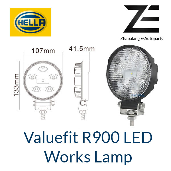 [1 Pcs]HELLA Valuefit Work Lights R900 LED 6000K | 900 Lumen | IP6K9K Dustproof Waterproof | Connection Cable 800 mm
