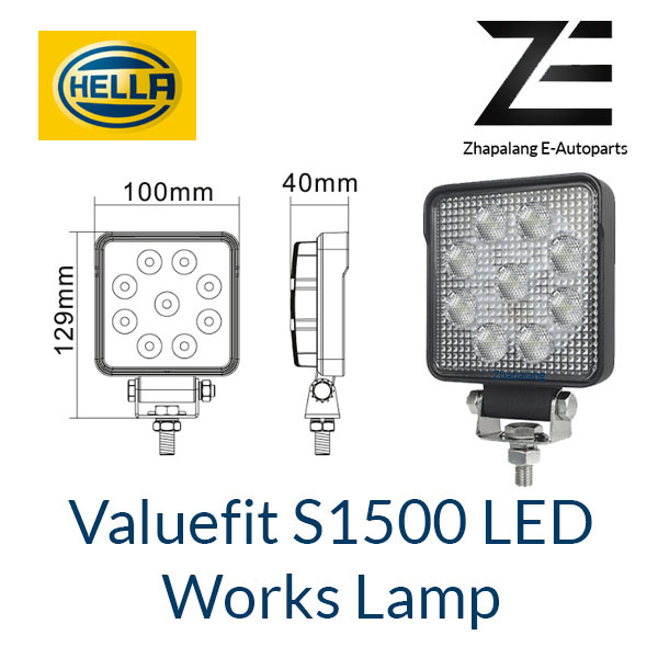 [1 Pcs]HELLA Valuefit Work Lights S1500LED 6000K | 1500 Lumen | IP6K9K Dustproof Waterproof | Connection Cable 800 mm