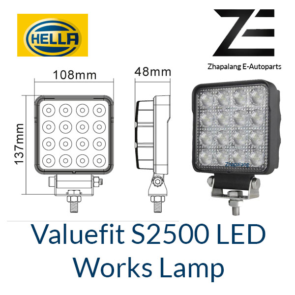 [1 Pcs]HELLA Valuefit Work Lights S2500 LED 6000K | 2500 Lumen | IP6K9K Dustproof Waterproof | Connection Cable 800 mm