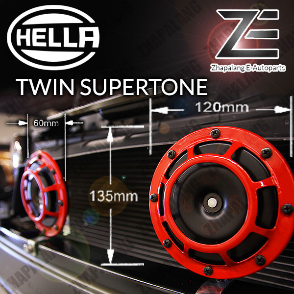 Hella Twin Supertone Red Horn Kit with 4-Pin Relay 3AG 003 399-801