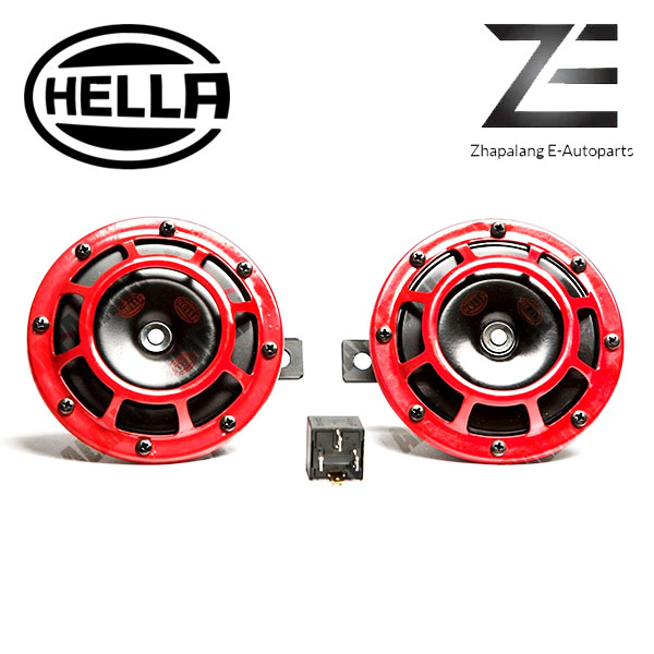 Hella Twin Supertone Red Horn Kit with 4-Pin Relay 3AG 003 399-801 - Image 2