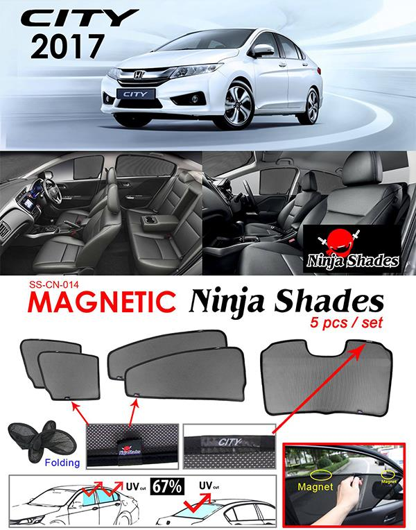Honda City GM6 2014-17 NINJA SHADES Magnetic Sun Shades 5 Pcs
