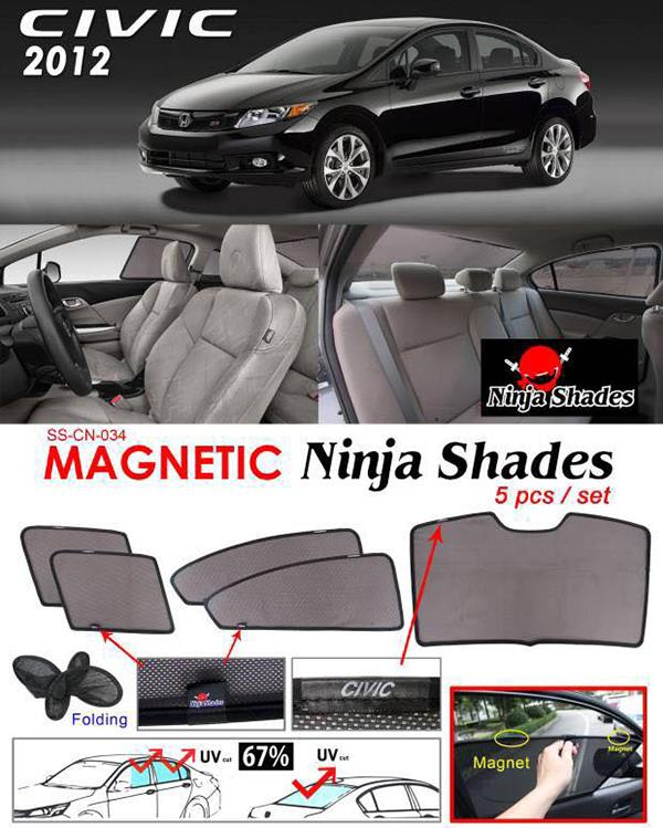 Honda Civic FB 2012-15 NINJA SHADES Magnetic Sun Shade 5 Pcs