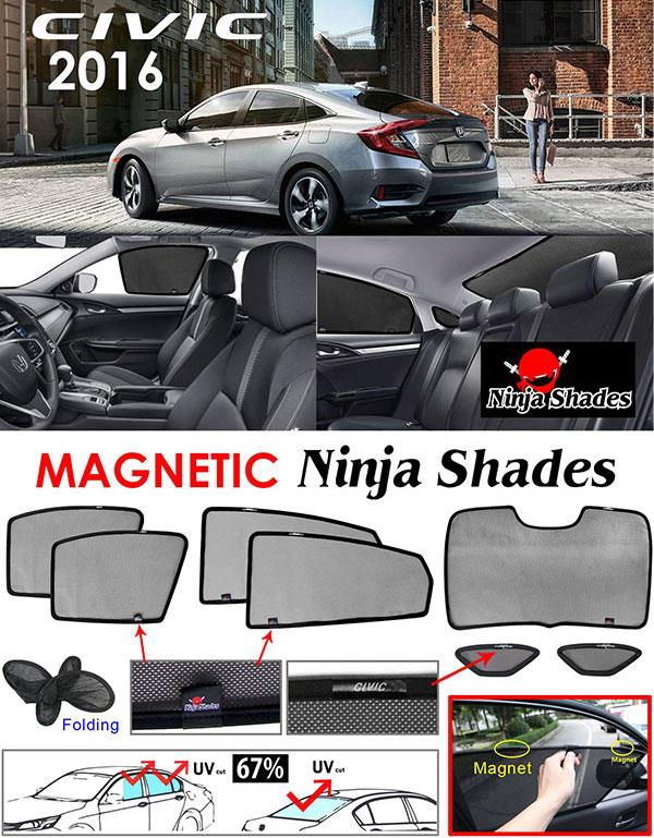 Honda Civic FC 2016-17 NINJA SHADES Magnetic Sun Shades 7 Pcs