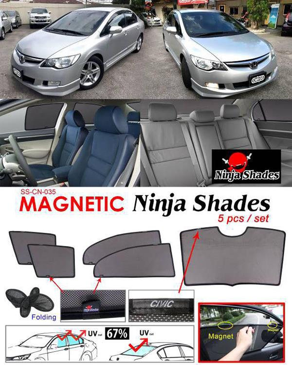 Honda Civic FD 2006-11 NINJA SHADES Magnetic Sun Shade 5 Pcs