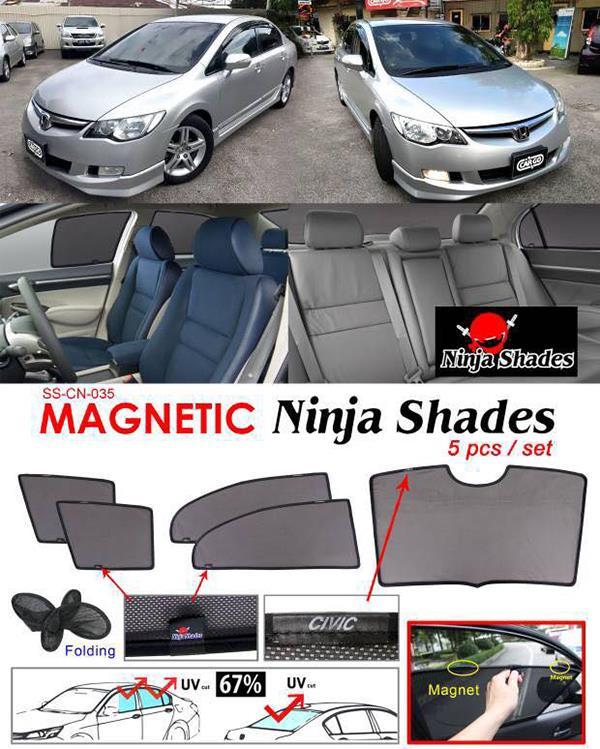 Honda Civic FD 2006-11 NINJA SHADES Magnetic Sun Shade 5 Pcs