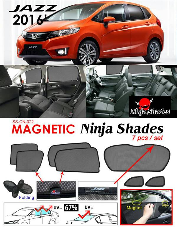Honda Jazz GK 2014-17 NINJA SHADES Magnetic Sun Shade 7 Pcs