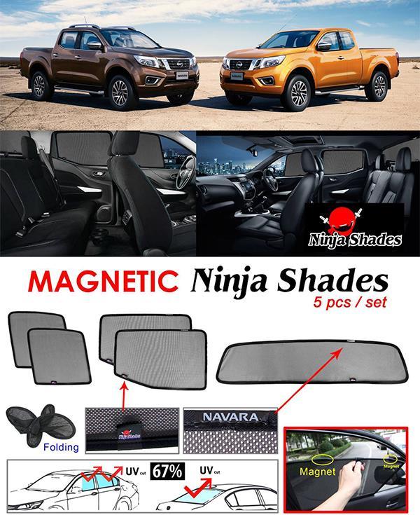 Nissan Navara NP300 2014-17 NINJA SHADES Magnetic Sun Shades 5 Pcs