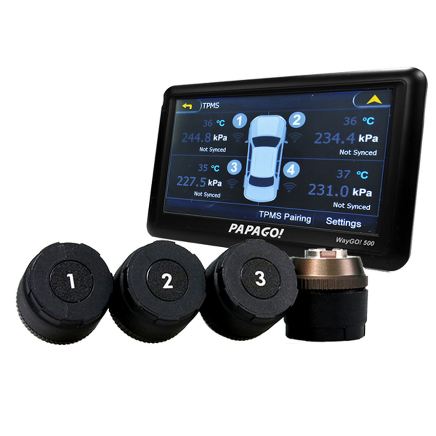 PAPAGO! GPS - Waygo 500 - support GoSafe TPMS 300 for real-time Pressure & Temperature Monitoring