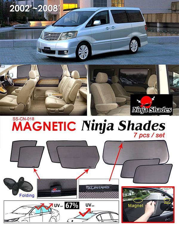 Toyota Alphard ANH10 2002-07 NINJA SHADES Magnetic Sun Shade 7 Pcs