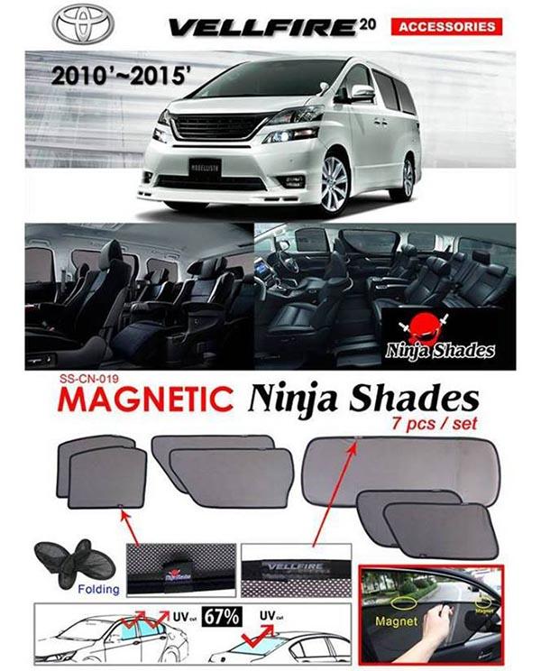Toyota Alphard/Vellfire ANH20 2008-14 NINJA SHADES Magnetic Sun Shade 7 Pcs