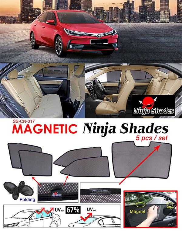 Toyota Altis E170 2013-17 NINJA SHADES Magnetic Sun Shade 5 Pcs