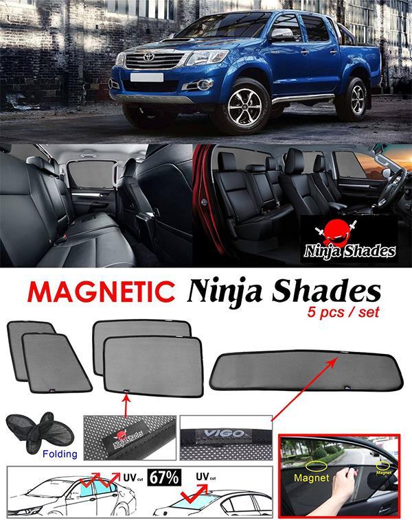 Toyota Hilux Vigo 2004-2014 NINJA SHADES Magnetic Sun Shades 5 Pcs