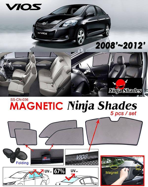 Toyota Vios NCP93 2007-12 NINJA SHADES Magnetic Sun Shade 5 Pcs