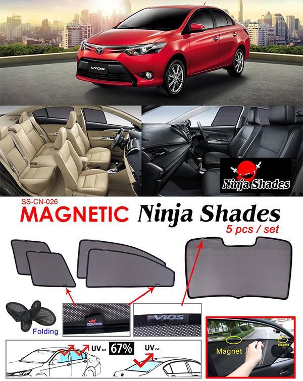 Toyota Vios NCP150 2013-17 NINJA SHADES Magnetic Sun Shade 5 Pcs