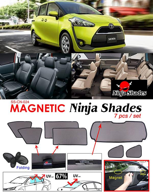 Toyota Sienta XP-170 2015-17 NINJA SHADES Magnetic Sun Shades 7 Pcs