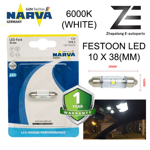 NARVA Festoon 38mm 12V LED Interior Light Bulb/Room Lamp/Reading Light 18079