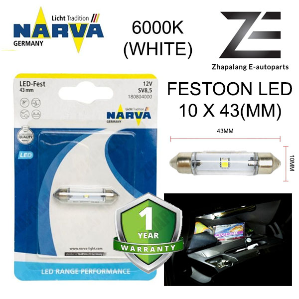NARVA Festoon 43mm 12V LED Interior Light Bulb White 18080