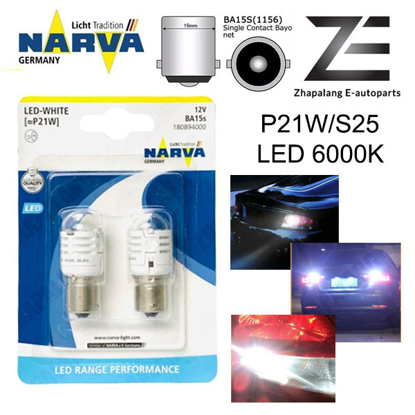 NARVA P21W S25 12V LED Signaling Light Bulb White 18089