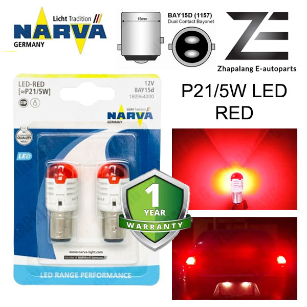 NARVA P21/5W 12V LED Signaling Light Bulb Red BAY15D 18096 - Image 1