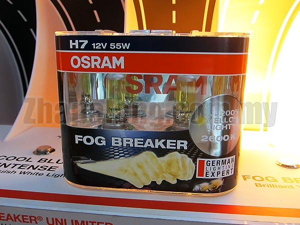 Osram Fog Breaker H7 2600K Headlight and Fog Lamp Halogen Bulb - Golden Yellow