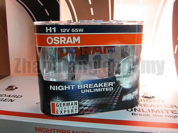 Osram Night Breaker Unlimited +110% Brightness + 20% Whiter 60/55W H1