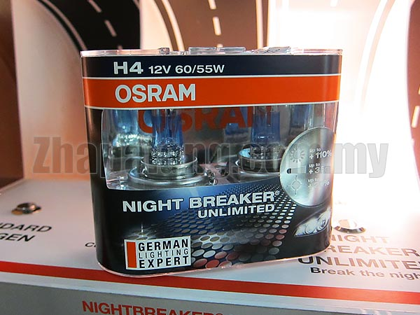 Osram Night Breaker Unlimited +110% Brightness + 20% Whiter 60/55W H4
