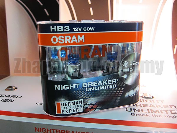 Osram Night Breaker Unlimited +110% Brightness + 20% Whiter 60/55W HB3