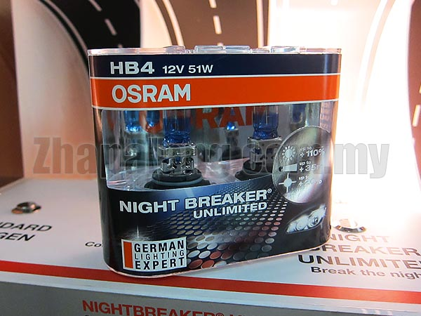 Osram Night Breaker Unlimited +110% Brightness + 20% Whiter 60/55W HB4