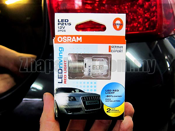 OSRAM LED P21/5W 1457R LEDriving Tail Lamp Light Pair - Red