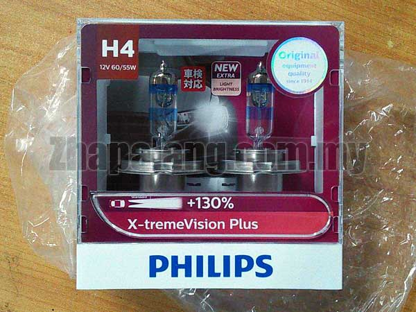 Philips X-treme Vision Plus +130% Headlight Bulbs (Pack of 2) (H4 60/55W)