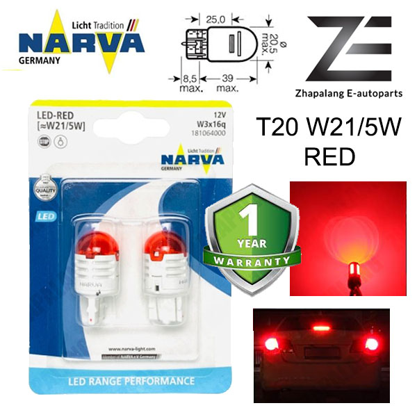 NARVA T20 W21/5W 12V LED Signaling Light Bulb Red 18106