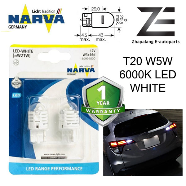 NARVA T20 W21W 12V LED Signaling Light Bulb White 18099