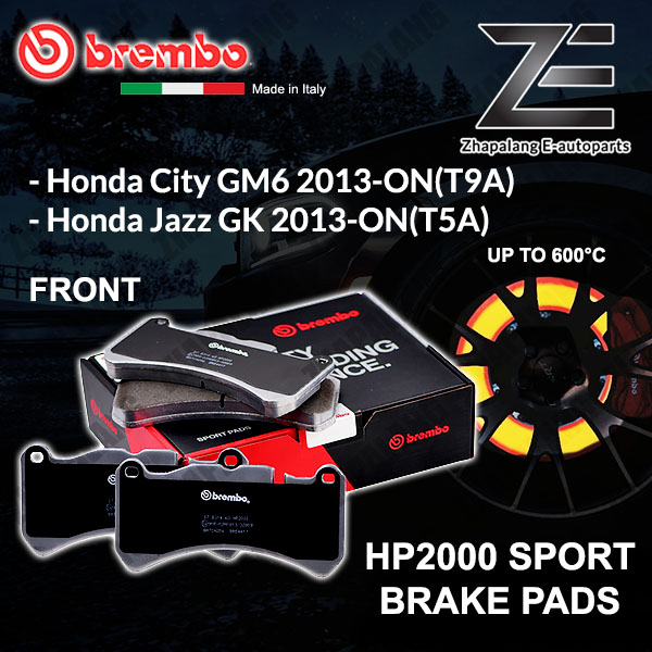 BREMBO HP2000 Honda City GM6 T9A Jazz GK 2013-ON Sport Racing Performance 600°C Front Disc Brake Pad