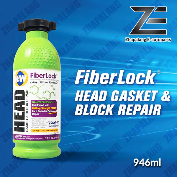 K&W Fiberlock Head Gasket & Block Repair 946ml (Replacement of CRC Copper Weld) Fiber Lock