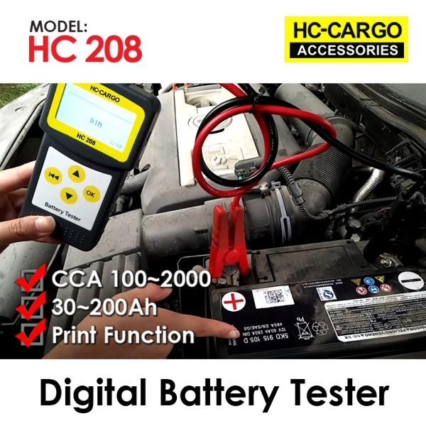 HC-208 Digital Battery Tester, Charging System Test, Starting System Test, Can Print Result