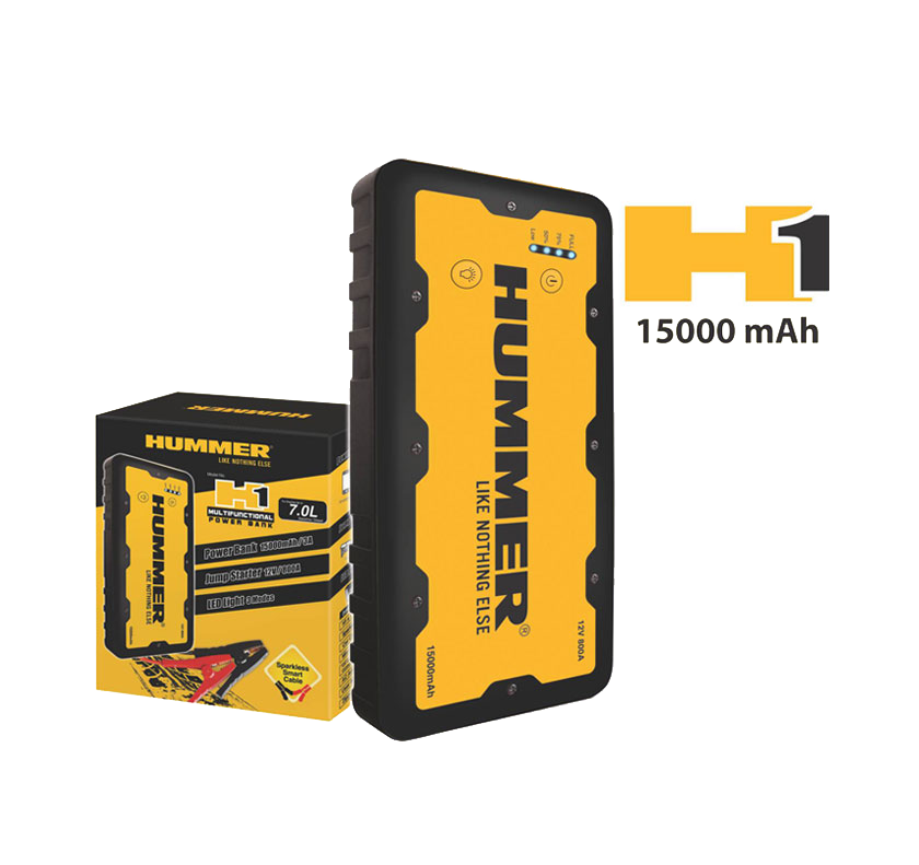 Hummer H1 Multifunctional Power Bank Jump Starter (15000mAh) for Engine up to 7L Petrol and Diesel