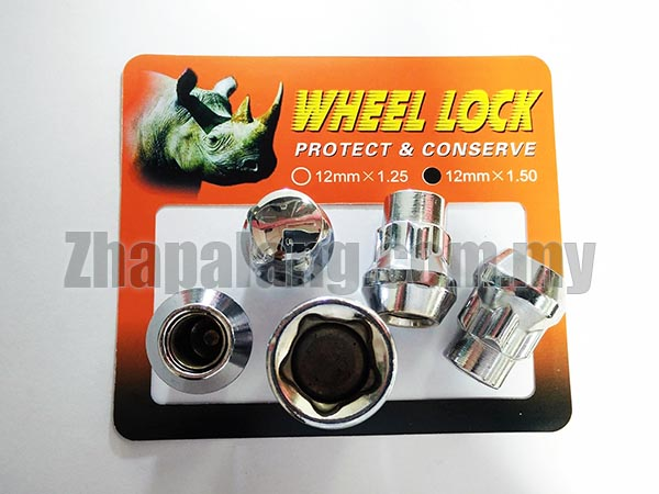 Short Wheel Lock Nut Kit 14x1.5 Conical Seat (Includes 4 Locking Lugs + Key)